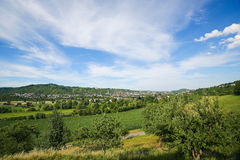 Tubingen, Baden-Wurttemberg, Germany. View on the green hills and the center of Tubingen, Baden Wurttemberg, Germany Royalty Free Stock Photos