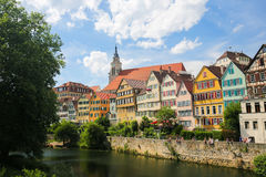 Tubingen, Baden-Wurttemberg, Germany. View on houses and the Stiftskirche in the historical center of Tubingen, by the River Neckar in Baden Wurttemberg, Germany Stock Image