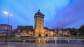 Tubinger Tor at dusk in Reutlingen, Germany. Reutlingen, Germany. Historic Tubinger Tor at dusk stock footage