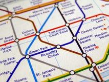 Tubki mapa Londyński metro Obrazy Royalty Free