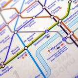 Tubki mapa Londyński metro Zdjęcia Royalty Free