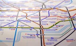 Tubki mapa Londyński metro Fotografia Royalty Free