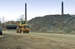 Tubo, caricatore, carrello elevatore, bulldozer, pesante, lavoro, diametro, grande fotografia stock