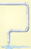 Tubo con acqua corrente e la pozza Fotografia Stock