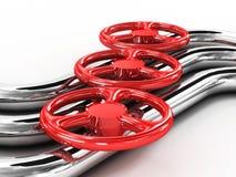 Tubo d'acciaio con le valvole rosse Fotografia Stock