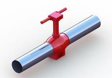 Tubo d'acciaio rosso della valvola a gas dell'olio Fotografia Stock Libera da Diritti