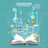Tubo de ensaio aberto do livro da lição da química da educação ilustração stock