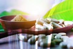 Tubo de ensaio da exposição dobro e droga erval no comprimido e na cápsula sobre Imagens de Stock Royalty Free