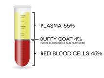Tubo de ensayo con los glóbulos