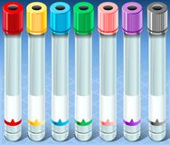 Tubo de ensayo multicolor isométrico de la colección - vacie - conjunto completo Imagen de archivo