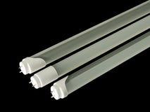 Tubo de la fluorescencia del LED en fondo negro Fotografía de archivo