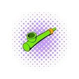 Tubo de madera para el icono que fuma, estilo de los tebeos stock de ilustración