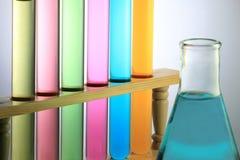 Tubo de prueba con el frasco Fotos de archivo libres de regalías