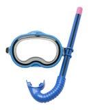 Tubo de respiração e máscara azuis imagens de stock