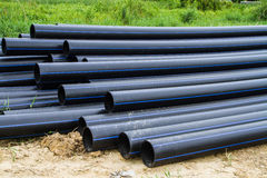 Tubo del HDPE para el abastecimiento de agua Fotografía de archivo libre de regalías