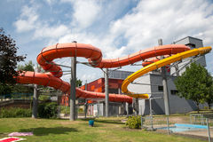 Tubo dell'acquascivolo alla piscina pubblica Fotografia Stock Libera da Diritti