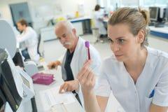 Tubo dell'analisi del sangue della tenuta dell'infermiere fotografia stock