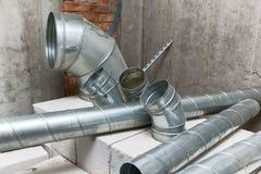 Tubo di aria di alluminio per la presa d'aria Fotografia Stock