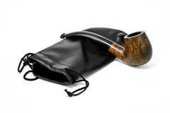 Tubo di fumo con un sacchetto Fotografia Stock Libera da Diritti
