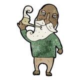 tubo di fumo dell'uomo anziano del fumetto Fotografie Stock Libere da Diritti