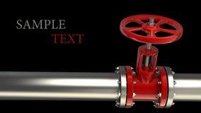 Tubo di gas con una valvola rossa fotografia stock libera da diritti