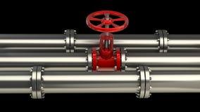 Tubo di gas con una valvola rossa Fotografia Stock