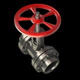 Tubo di gas con una valvola rossa sul nero Fotografia Stock