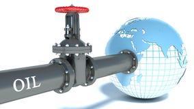 Tubo di olio allegato al globo Immagine Stock Libera da Diritti