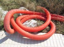 Tubo di plastica arancio Immagine Stock Libera da Diritti