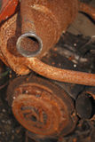 Tubo di scarico di vecchia automobile italiana rovinata Fotografia Stock
