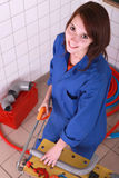 Tubo do sawing da mulher Fotos de Stock Royalty Free