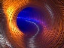 Tubo dorato - vista dall'interno di. immagini stock