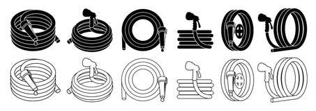 Tubo flessibile di giardino o insieme della manichetta antincendio, isolato sull'icona bianca di vettore Fotografia Stock