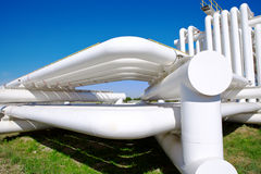 Tubo industrial con el gas y petróleo y agua Imagen de archivo libre de regalías