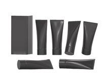 Tubo plástico negro de la higiene de la belleza con la trayectoria de recortes Imagen de archivo