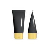 Tubo poner crema realista negro con el casquillo de oro Plantilla cosmética fijada en diversas proyecciones Ilustración aislada d Fotografía de archivo