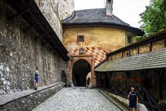 Tubo principale al castello di Orava, Slovacchia fotografie stock libere da diritti
