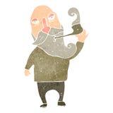 tubo que fuma retro del viejo hombre de la historieta Imagen de archivo libre de regalías