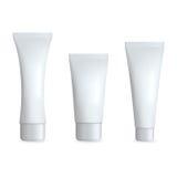 Tubo realista blanco para la crema Sistema cosmético de la plantilla Ilustración aislada del vector Imagen de archivo libre de regalías