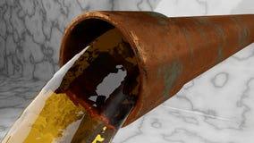Tubo viejo que vierte el líquido colorido en la bandeja que se sienta en el piso de mármol libre illustration