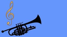 Tubo y llave de oro del violín Notas musicales de mudanza coloridas Animación de una trompeta en un fondo azul Tubo negro ilustración del vector