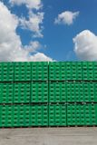 Tuborg beer package in factory. CELAREVO, SERBIA - JUNE 11. 2017. Carlsberg Serbia brewery, heap of green crates for Tuborg beer at large warehouse in factory stock photography