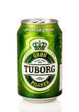 Tuborg can. A cold tuborg can with water drops on white background with reflection Stock Photography