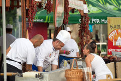 Tuborg Green Fest. Chefs preparing food for many fans to come to Tuborg Green Fest Stock Photos