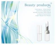 Tubos blancos con la barra de labios blanca en fondo azul de las ondas Ejemplo cosmético para hacer publicidad stock de ilustración