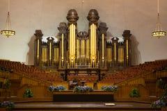 Tubos de órgano de la iglesia en el tabernáculo mormón Fotos de archivo