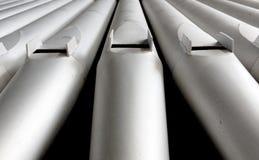 Tubos de órgano de plata Fotografía de archivo libre de regalías