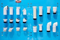 Tubos de alcantarilla acanalados plásticos Imagenes de archivo