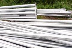 Tubos de aluminio de los posts de la electricidad para la construcción Fotografía de archivo