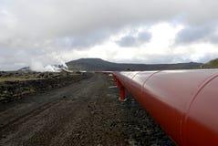 Tubos de calefacción en Islandia Fotografía de archivo libre de regalías